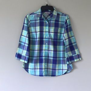 JCP gingham patterned button up top